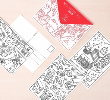 LONDON - coloring postcards