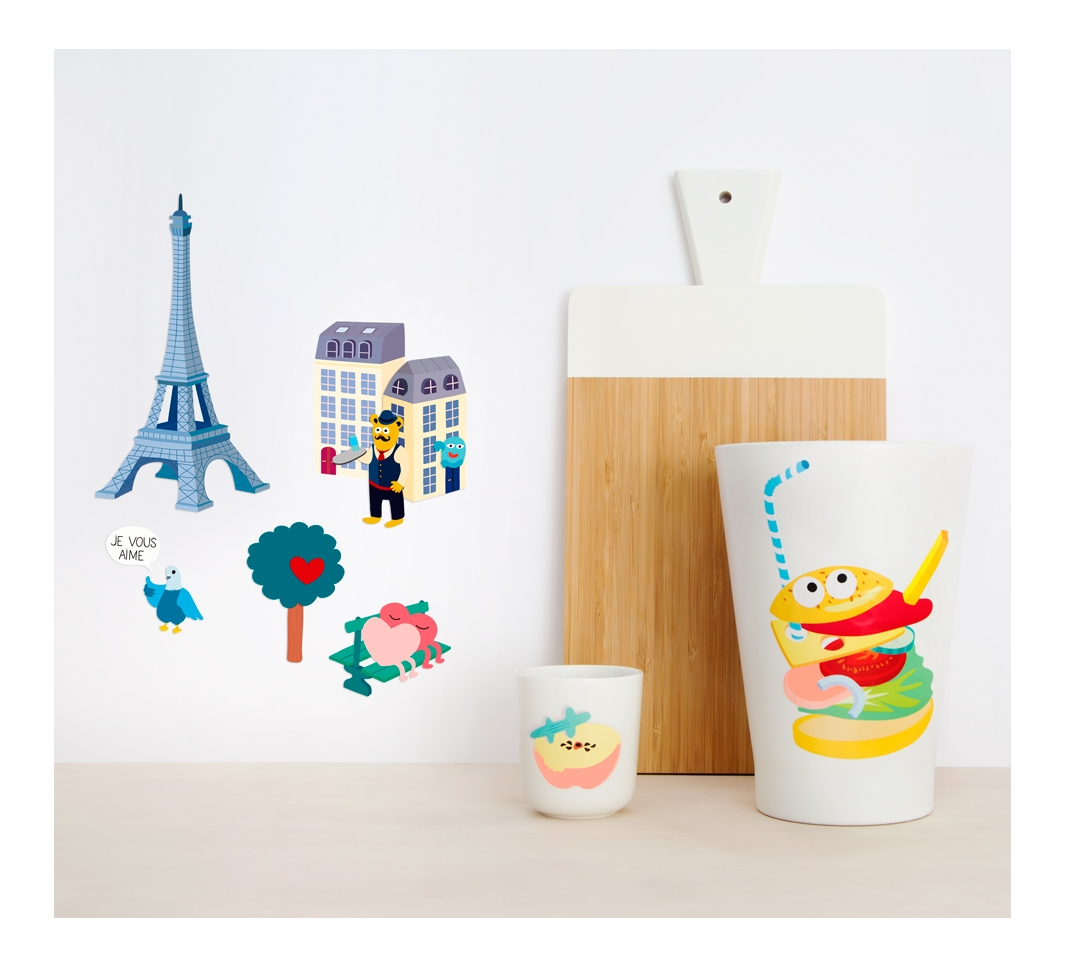 Fun coloring stickers robots - Stickers couloir maison ...