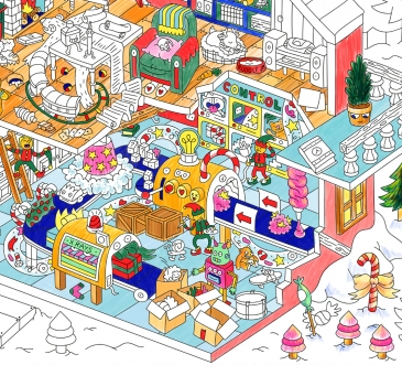 Santa's workshop- Coloring Poster
