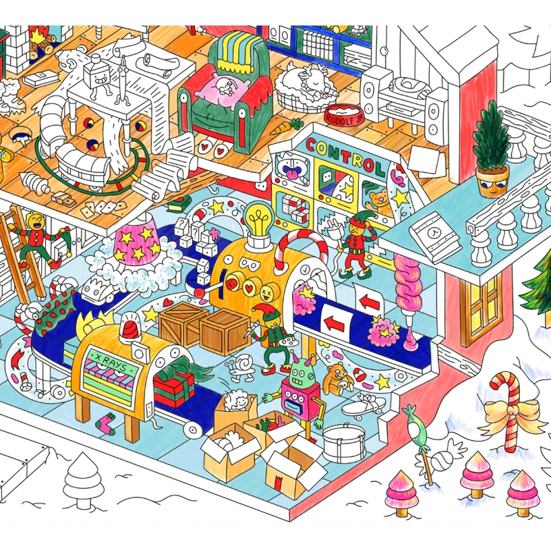 santas workshop coloring poster santas workshop coloring poster