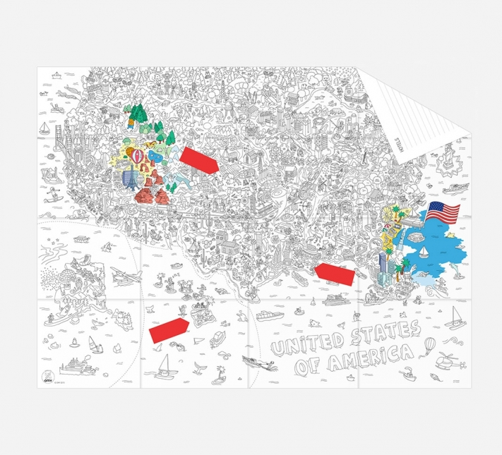 New York On Usa Map.Pocket Map And Coloring Page Usa