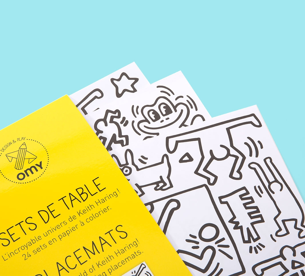 placemat coloring pages keith haring