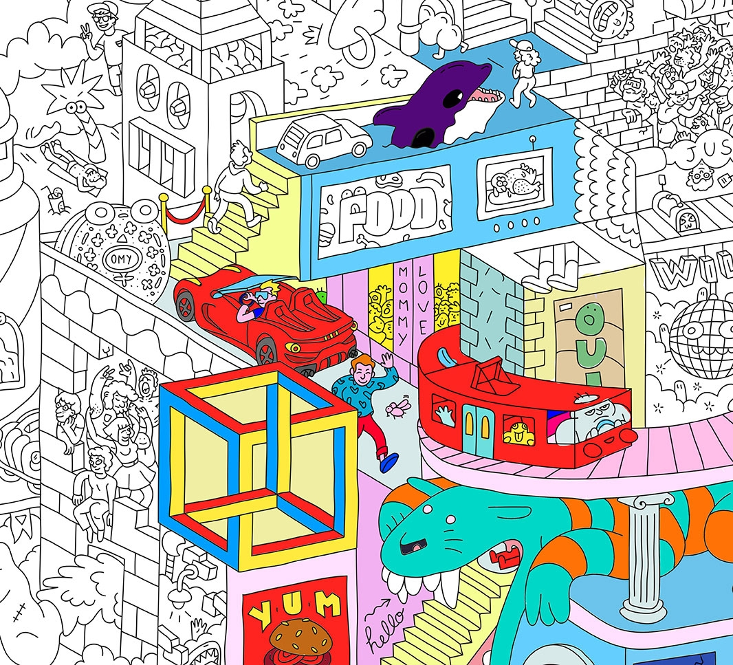 Giant coloring poster party - Coloriage maison ...